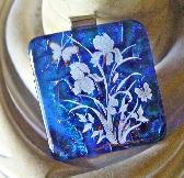 Cobalt Blue Iris Dichroic Glass Image Pendant