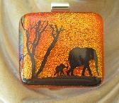 Orange Dichroic Glass Elephant Image Pendant