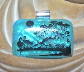 Tropical Birds Black Silhouette Image Blue Dichroic Fused Glass Bird Pendant