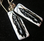 Grimm Fused Glass Image Earrings Black and White Goth