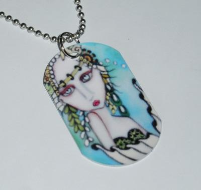 Sea Mist Mermaid Dog Tag Necklace