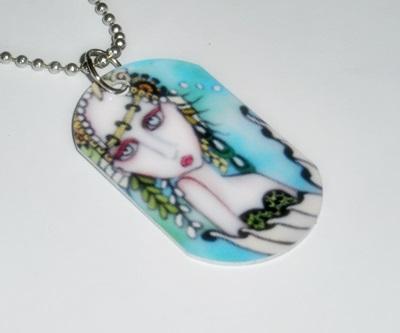 Sea Mist Mermaid Dog Tag Necklace