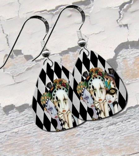 Harlequin Ladies Guitar Pick Earrings