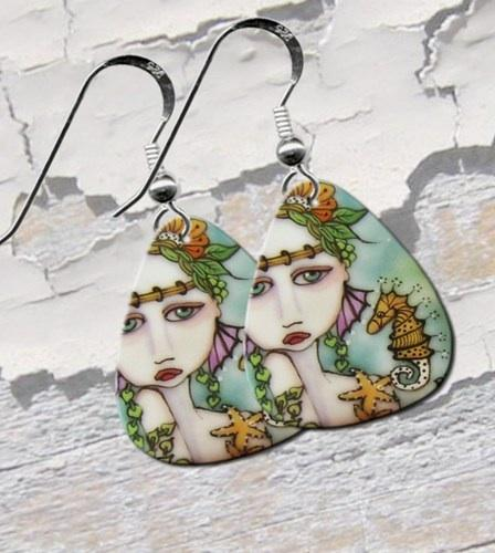 Mermaid Guitar Pick Earrings