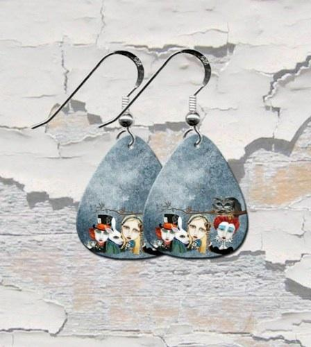 Alice In Wonderland Tea Party Guitar Pick Earrings