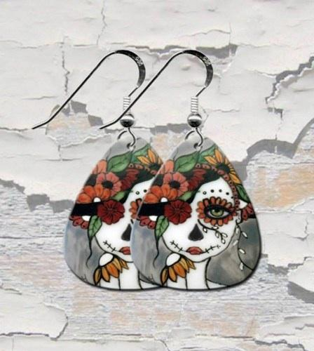 day Of The Dead Guitar Pick Earrings