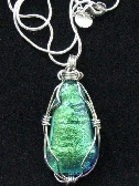 Silver wrapped Dichroic Pendant with Sterling Chain Bail