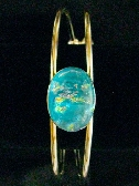 Aqua Fused Dichroic Silver Cuff Bracelet