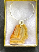 Wire Wrapped Agate Pendant Sterling Silver Chain