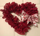 Red Burlap Heart Wreath