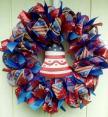 Deco Mesh Ribbon Wreath July 4th Patriotic