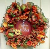 Deco Mesh Wreath Fall Autumn Leaves