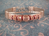 Rose Silver Wire Wrapped Bracelet Rose Faceted Rounds and Swarovski Spacer FREE SHIPPING USA