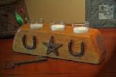 Three Votive Western Candle Holder with Texas Star and Horseshoes