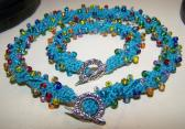 Teal Multicolored Beaded Textile Necklace and Bracelet Jewelry Set Handmade Necklace Made in the USA