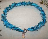 Mermaid Teal Blue Green Beaded Crochet Choker Necklace Handmade Made in USA