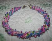 Pink Rainbow Multicolored Beaded Crochet Choker Necklace Handmade Made in USA Soft Cotton Candy