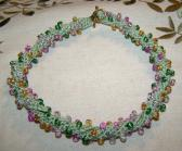 Green Pink and Gold Multicolored Beaded Crochet Choker Necklace Handmade Made in USA