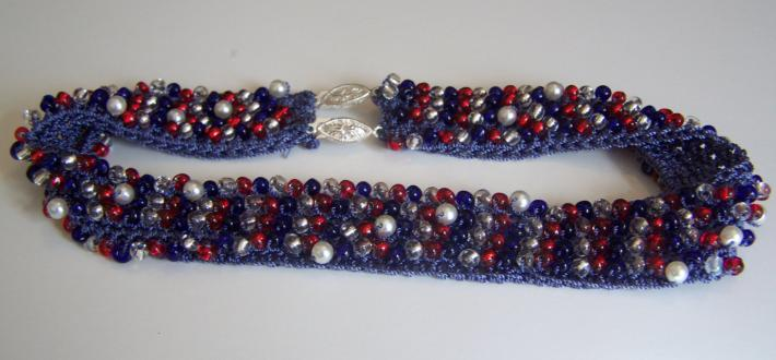 Red White and Blue Handmade Crochet Beaded Necklace Made in USA