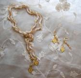 Gold and Ivory Beaded Lariat Necklace and Earring Set Handmade Beaded Crochet Jewelry Made in USA