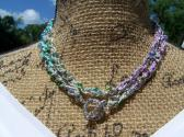 Silver Purple Teal and Green Beaded Woven Chain Toggle Necklace