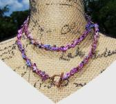 Copper Purple Blue and Black Beaded Woven Toggle Necklace