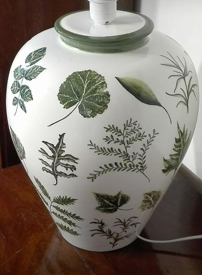 Hand painted base of lamp botanical style