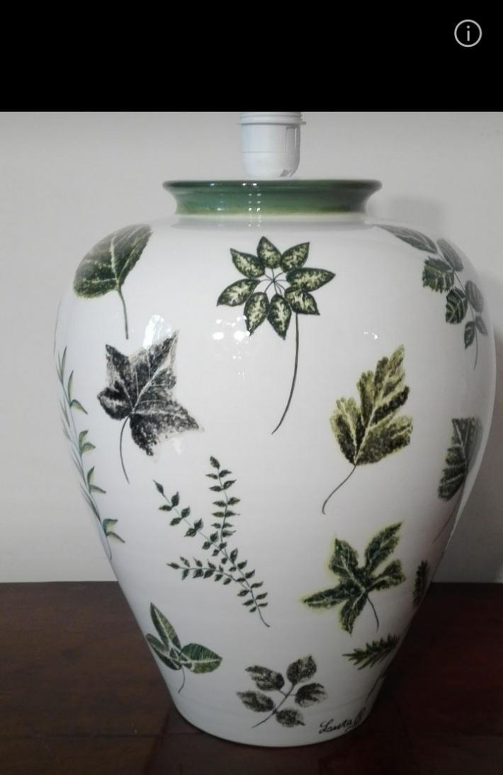 Hand painted base of lamp botanical style