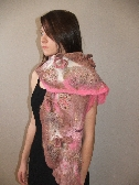 Felted Scarf Wrap PINK WILD  flowers