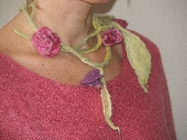 Springs roses necklace Felted Merino nuno felted necklace