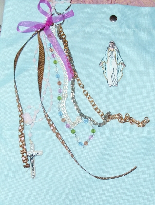Virgin Mary Large Blue Tote Bag with Jerusalem Rosary