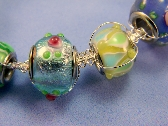Lampwork Glass and Macrame Wire Bracelet