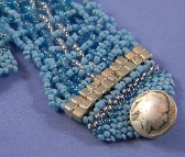 Turquoise Blue and Silver Bead Bracelet
