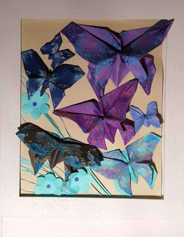 Origami butterflies wall art