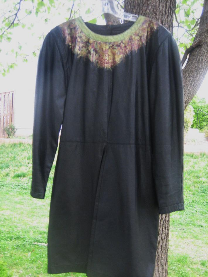 Hand painted Vintage Adrienne Vittadini Black Leather Dress