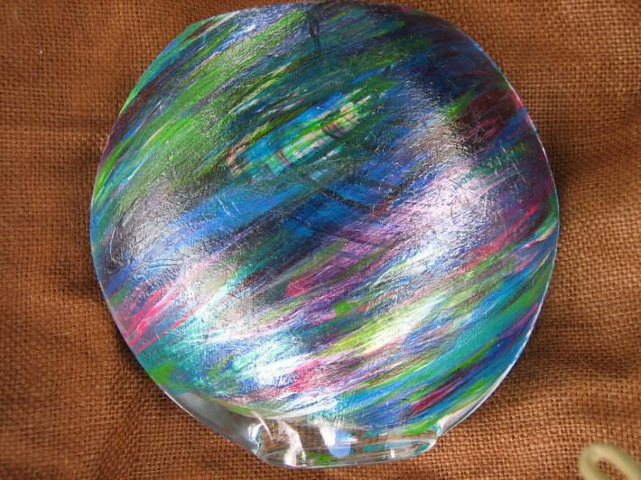 Abstact Swirl Design Hand painted Oval Glass Vase