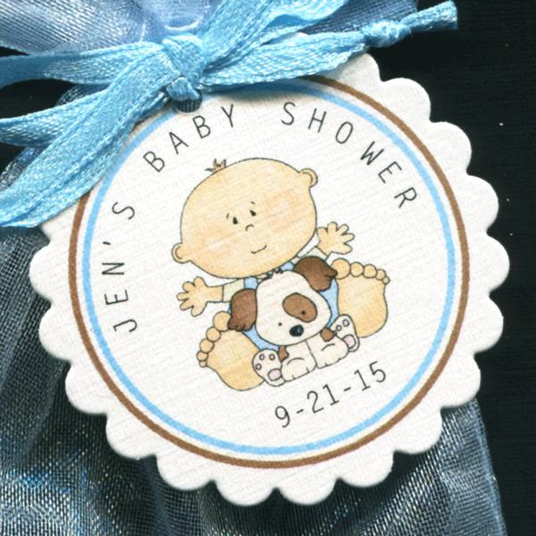 50 Personalized Baby Shower Favor Tags Baby Boy with Puppy Round Scallop Tags