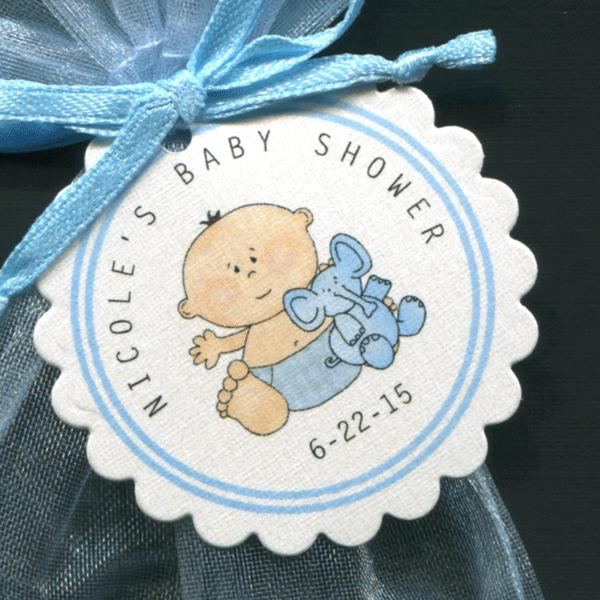 50 Personalized Baby Shower Favor Tags Baby Boy with Elephant Round Scallop Tags