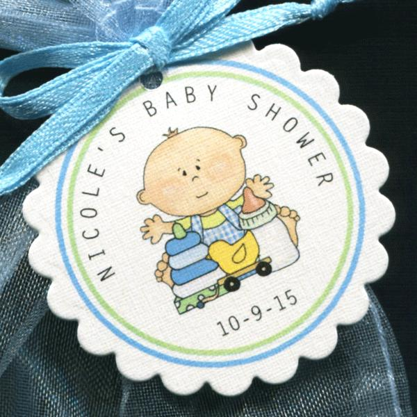 50 Personalized Baby Shower Favor Tags Baby Boy with Toys Round Scallop Tags