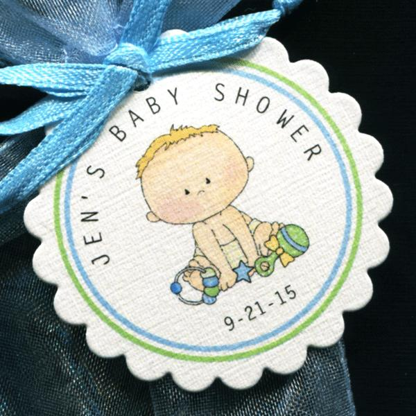 50 Personalized Baby Shower Favor Tags Baby Boy Round Scallop Tags