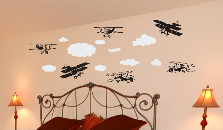 Bi Planes in the Clouds Wall Decal