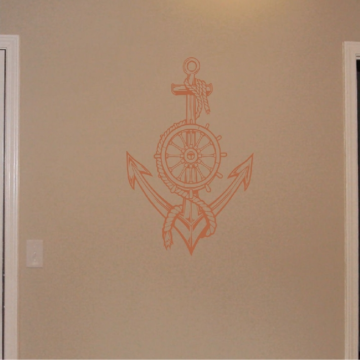Wall Decal Nautical Anchor with Ships Wheel