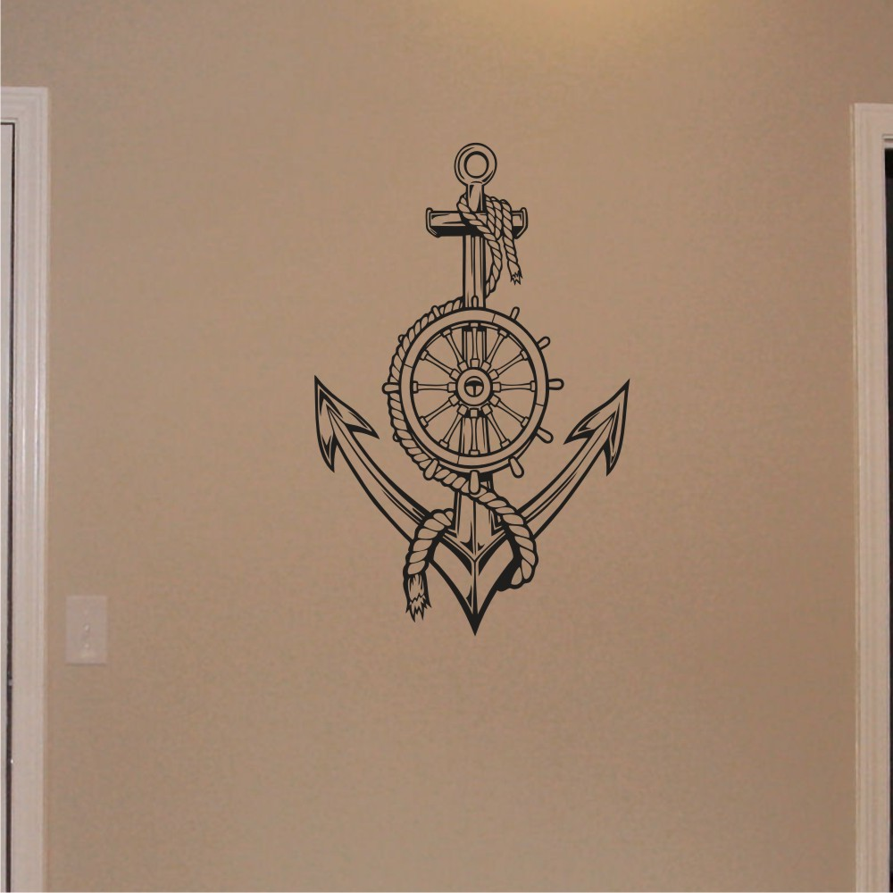 Wall decal nautical anchor with ships wheel on handmade artists shop wall decal nautical anchor with ships wheel amipublicfo Image collections