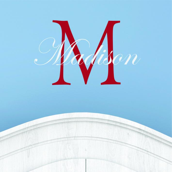 Personalized Name and Initial Monogram Nursery Wall Decal