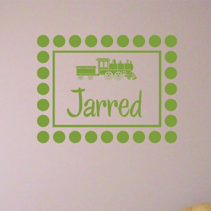 Wall Decal Dotted Frame  Monogram Train with Personalized Childs Name
