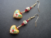 Gold Cloisonne Hearts Red Crystals Earrings