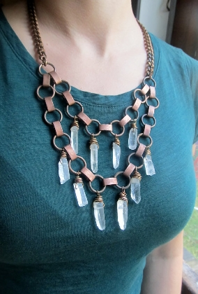 Wire Wrapped Quartz Crystal Fringe Necklace