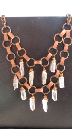 Wire Wrapped Quartz Crystal Fringe Necklace