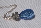 Blue Topaz Labradorite Pendant Style Necklace Sterling Silver