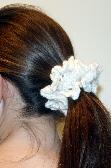 White Hand Crocheted Scrunchie